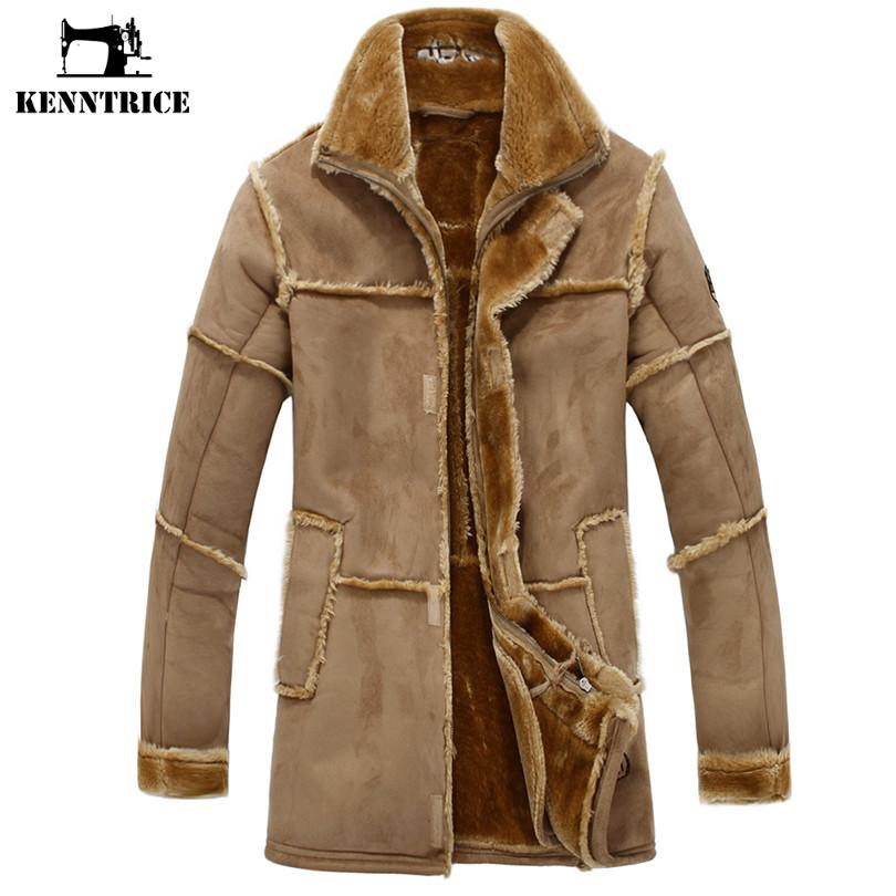 50caca94ae0 KENNTRICE Trench Coat Men Suede Jacket Patchwork Leather Jackets Men Faux  Fur Coat Luxury Thick Warm Long Suede Jacket