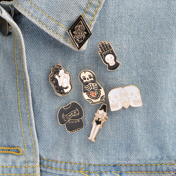 Egnara Cartoon Skull Metal brooch set Enamel pin button Black Totem Bound women Jacket Shirt collar pins Lapel pin Badges k-pop Jewelry