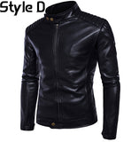 Top Quality PU 2017 New Fashion Male Biker Mortorcycle Black Leather Jacket Men Plus Size 5XL Shoulder Protector Design