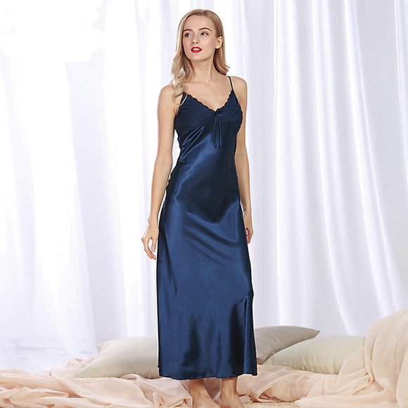 SSH081 Lady Sexy Silk Satin Night Dress Sleeveless Nighties V-neck Nightgown Women Solid Sleepwear Nightwear Summer Nightdress