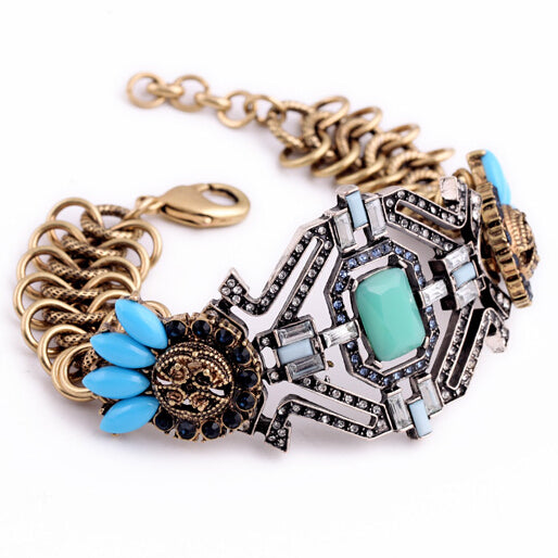 ATHENA 2018 Jewelry Hot Sales Luxury Punk Blue Flower Bracelet  For Women Factory Wholesale