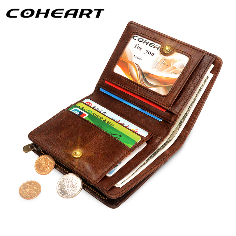 1434ac5473 COHEART 100% genuine leather wallet men cowhide top quality real leather  men wallets purse multifunction pactical male wallet !