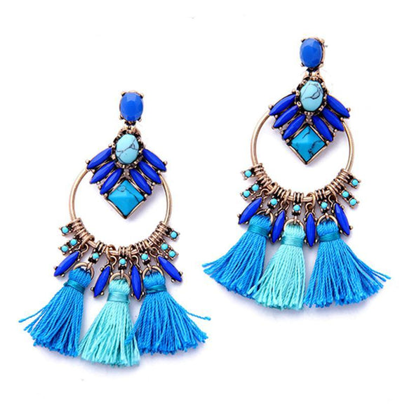 ATHENA 2018 Blue Luxury Tassel Earrings Delicate Alloy Vintage Drop Earrings