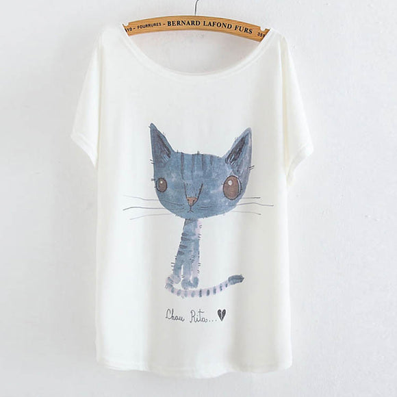 2017 White Summer Tops Tees Cute Animal Cat Totoro Printing Cotton T-shirt Women's Short Batwing Sleeve Tshirt New