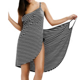 Gamiss 2017 Sexy Backless Women Summer Striped Dress V-neck Spaghetti Strap Women Knee-length Cover ups Beach Dresses vestidos