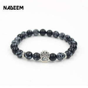 2017 Wholesale Snowflake Stone Mala Bead Yoga Bracelet Dog Hand Paw Men Women 8mm Elastic Rope Bracelet Fashion Jewelry ND4974