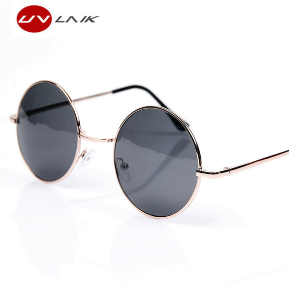UVLAIK Fashion Round Sunglasses Men Women Vintage Circle Male Female Gold Sun Glasses Women Men Brand Designer Mirror Goggles