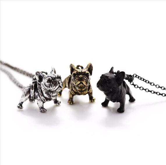 Hippie Vintage French Bulldog Necklace