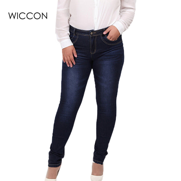 2017 Winter autumn fashion brand plus size jeans blue color casual denim pants woman pencil jean trousers  L-5XL big size WICCON
