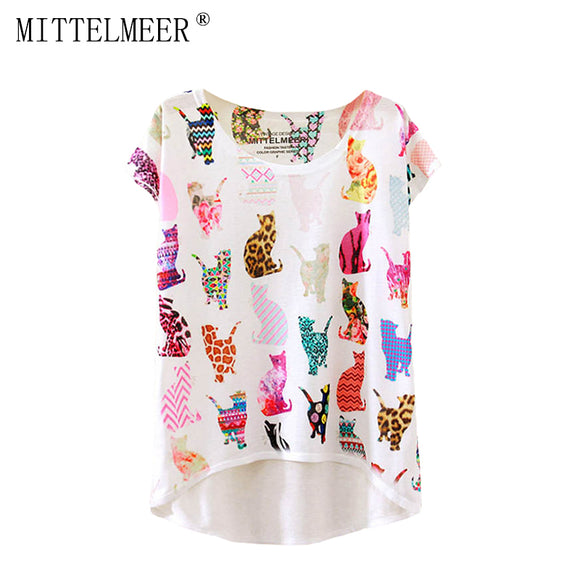 2017 Brand New Polyester T-Shirt Women Short Sleeve t-shirts o-neck Causal loose Cat Style T Shirt Summer tops for women