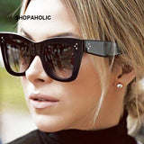 Flat Top Mirrored Sunglasses Women Brand Designer Vintage Luxury Sun Glasses Female Cat Eye Sunglasses Oculos De Sol Masculino