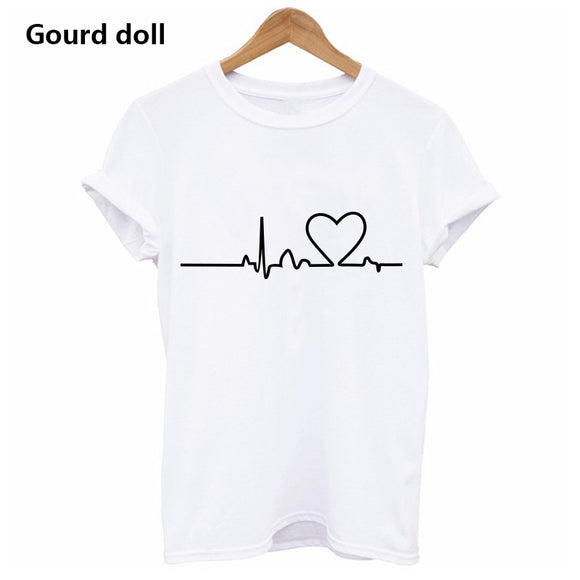 NEW2017 Harajuku Heartbeat Love Printed Women T-shirts Casual Summer Short Sleeve Short Sleeve t shirt women Tops Plus Size