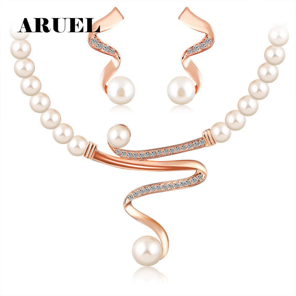 022c325aa2fe36 ARUEL fashion Hot Selling Gold Colour imitation pearl chain Necklace/Earrings  Sets women Wedding Africa ...