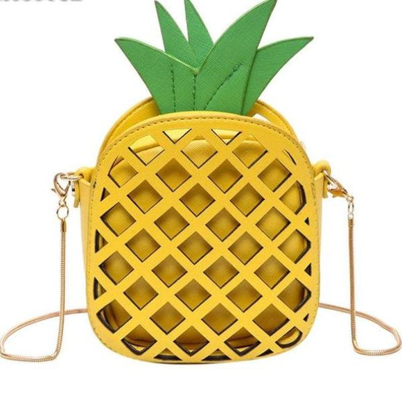 Egnara Brand Cute Leather Handbag for Girls Lovely Pineapple Women Messenger Bags with Chain Hollow Out Mini Fruit Shape Crossbody Bag