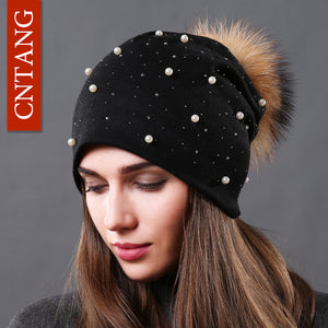 CNTANG 2017 Women's Fashion Hat Autumn Winter Rhinestones Pearl Hats Female Beanies Natural Raccoon Fur Pompom Cotton Warm Caps