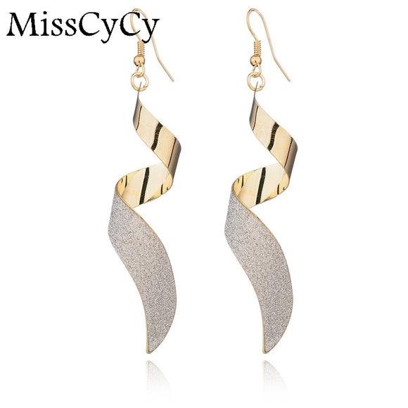 Bohemian Gold Drop Earrings For Women Rotate Shape Earrings Fashion Jewelry Long Earrings Boucle D'oreille Femme Pendante