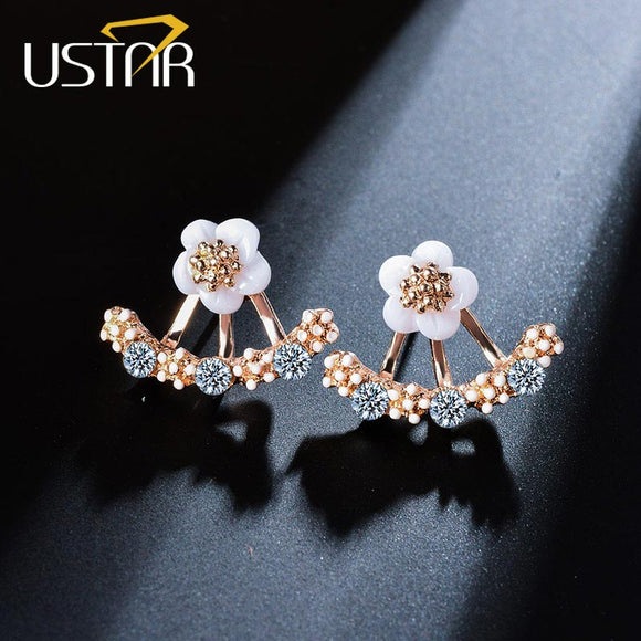 USTAR Flower Crystals Stud Earrings for Women Rose gold color Double Sided Fashion Jewelry Earrings female Ear brincos Pending