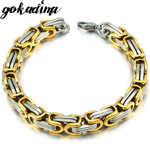 Gokadima men bracelet byzantine stainless steel links & chains Bracelets for man new pop jewelry  WB245