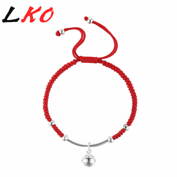 LKO S925 Sterling Silver Bell Lucky Red Rope Shambala Bracelet for man&women gift free shipping
