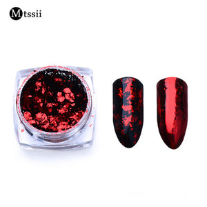 Mtssii 1BOX Aluminum Nail Flakes Sequins Powder Magic Mirror Glitters Gold Silver Red Colors Irregular Pigment Nail Decoration
