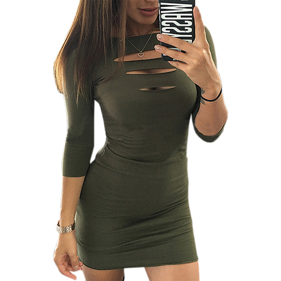 Women Bodycon Package Hip Dress O-neck Sexy Hollow Out Club Sheath Mini Dresses Three Quarter Sleeve Slim Pencil Vestidos LX311