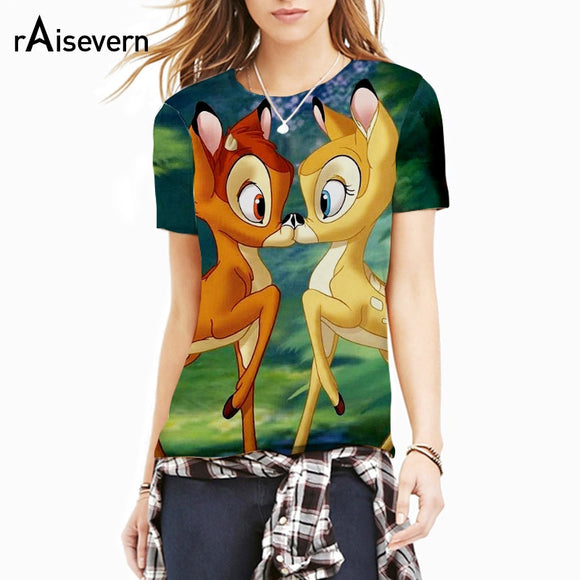 Raisevern Cute Cartoon T-shirt Bambi Deer/Grumpy Cat/UP Movie/Emoji/Astronaut Print Men Women Tshirt Top T Shirt