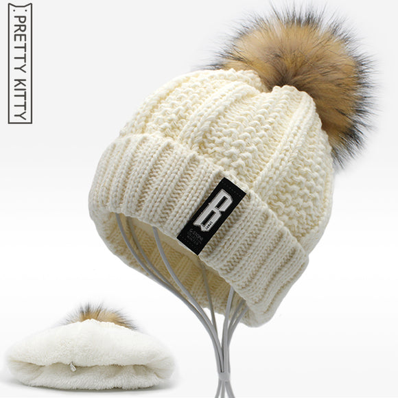 2017 NEW  Beanies Women girl 's Winter Hats Crochet  Cap Fur knitted Pompons Ball Warm Gorros Thick Female Cap