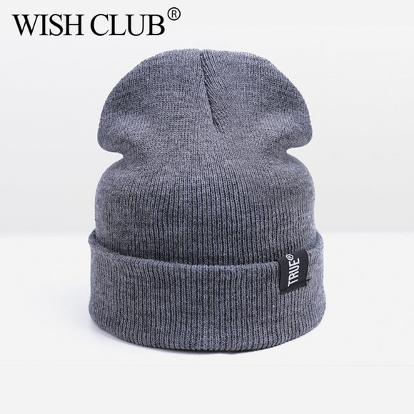WISH CLUB Unisex Brand Hat Winter Hat For Men Women Skullies Beanies Women Men Cotton Elasticity Warm Knit Beanies Hat