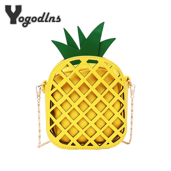 2017 Brand Leather Cute Handbag for Women Lovely Pineapple Bag with Chain Hollow Out Mini Women's Fruit Handbags purse for girls