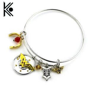 "wholesale 20pc Wonder Woman Charm Bracelet with Armor/Tiara/Crystals Bangle""I do freely and with Clear Conscience Letter Bangle"