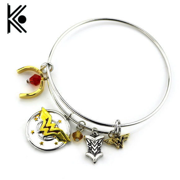 wholesale 20pc Wonder Woman Charm Bracelet with Armor/Tiara/Crystals Bangle