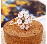 H:HYDE Fashion Wedding Rings Jewelry Bague Femme Pink Flower Rings For Women Summer Style 7Colors Ceramic Flower Anillos Mujer