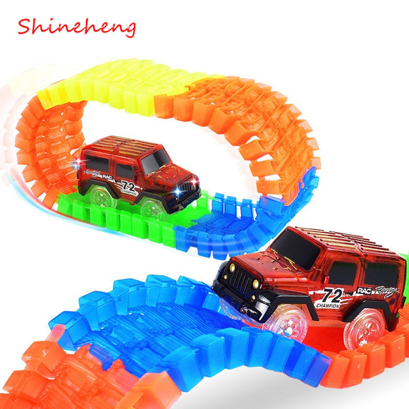 Shineheng Miraculous Track Bend Flex Glow in the Dark Assembly Toy 56/112pcs Glow Race Stunt Track Set + 1pc LED Car