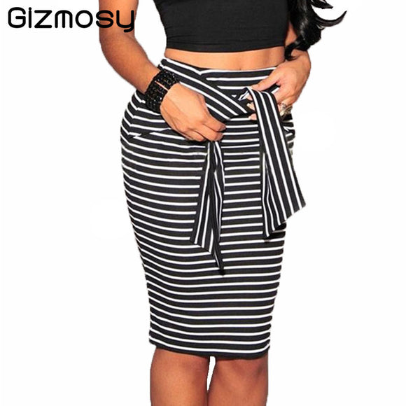 2017 Skirt Women Summer Casual High Waist Striped Bodycon Skirts Short Knee-Length Pencil Skirt For Ladies Office Sexy BN957