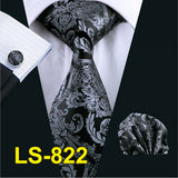 LS-822 Mens Tie Black Paisley 100% Silk Classic Barry.Wang Tie Hanky Cufflinks Set For Men Formal Wedding Party Groom Hot Sell