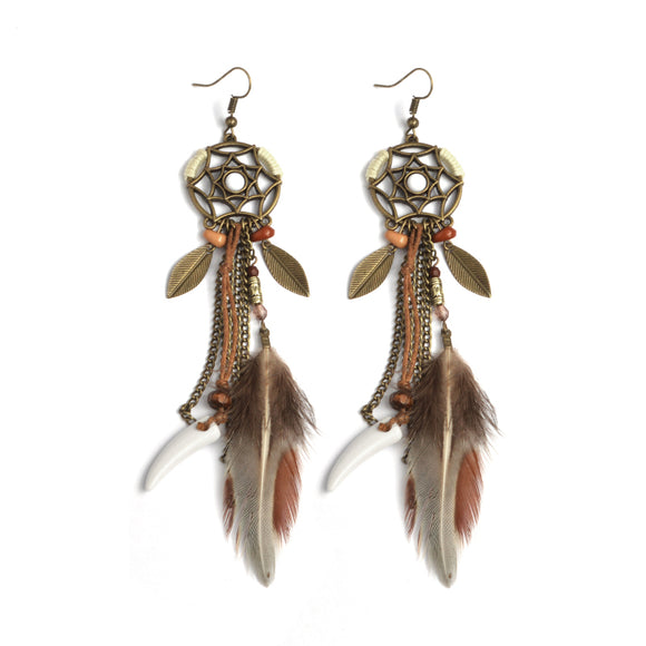 Hexagram Dreamcatcher  Leaves Feather Ivory stone Dangle Earrings