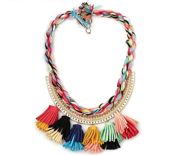 ATHENA 2018 New Fashion Colorful  Flower Boho Ethnic Tassle Cotton Chain Statement Maxi Necklace For Women