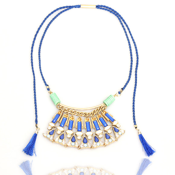 ATHENA 2018 New Fashion Blue Fan Shape Acrylic Gem Holiday Beach Dress Tassel Pendant Necklace Women
