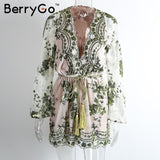 BerryGo Deep v sequin playsuit women Tassel short mesh bodysuit summer beach club elegant jumpsuit rompers embroidery leotard