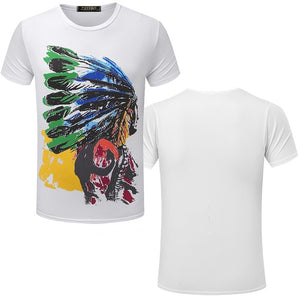 Fashion Brand New men's T-shirt Indian Print t shirt Casual loose fit Short Sleeve O-neck Tops Tees male tshirt TX80 R