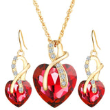 2017 new fashion 3 pieces/ set  Jewelry Set Crystal Heart Necklaces Earrings With Stones for Women high quality