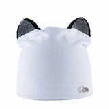 Rhinestone beanies cap with ears skullies women autumn winter hats for ladies fashion beanie cat hat women casual velvet caps
