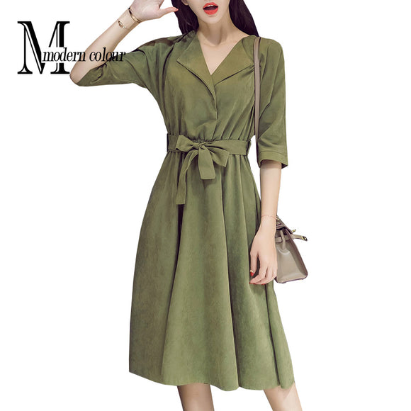 Everyday Casual Dresses Women Autumn 2017 New Arrival Suede Midi Dresses For Women Korean Fashion Blue Green Dress Long Sleeve