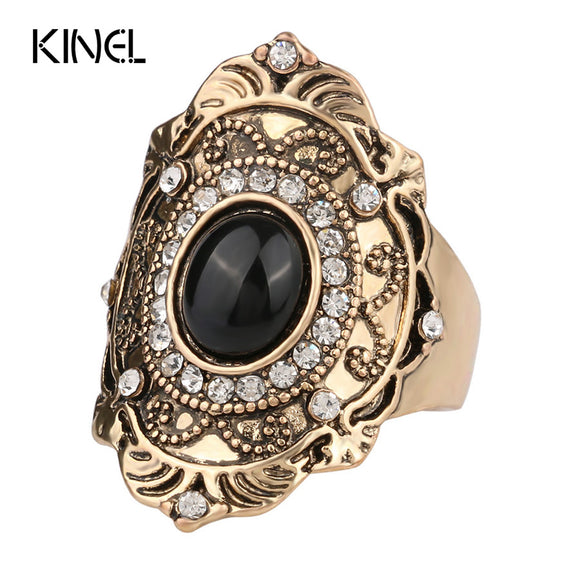 35 - Unique Black Ring Fashion Gold Color Vintage Mosaic Crystal Rings