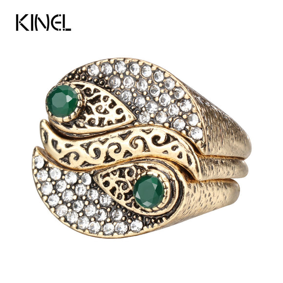 23 - Fashion 3Pcs Bohemia Women's Rings Sets Antique Gold Color Mosaic Crystal Midi Ring