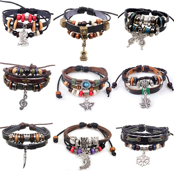 Free Shipping 2017 New Vintage Leather Wood Beads Bracelet Wolf Tooth Pendant Punk Bracelets For Women/Men Jewelry Pulseira