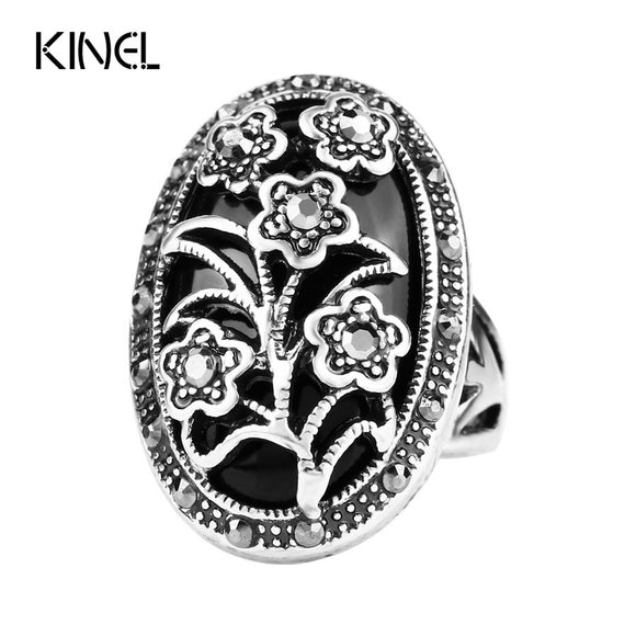 55 - Fashion Retro Jewelry Silver Color Unique Vintage Crystal Flower Black Rings