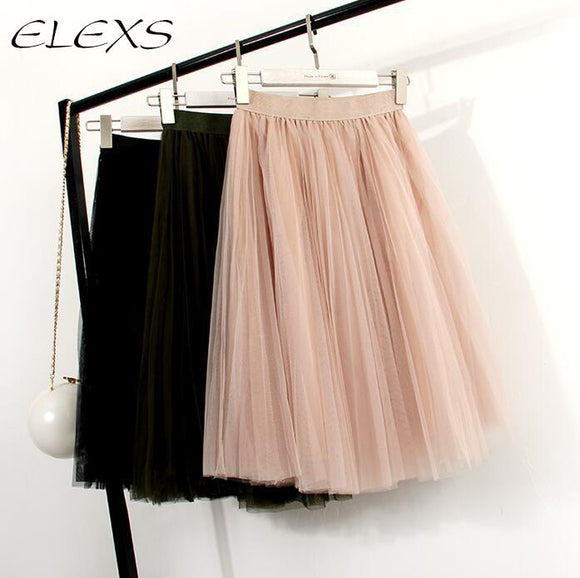 ELEXS New Fashion Three Layer Tulle Skirts Women's Black Gray White Adult Tulle Skirt Elastic High Waist Pleated Midi Skirt 7401