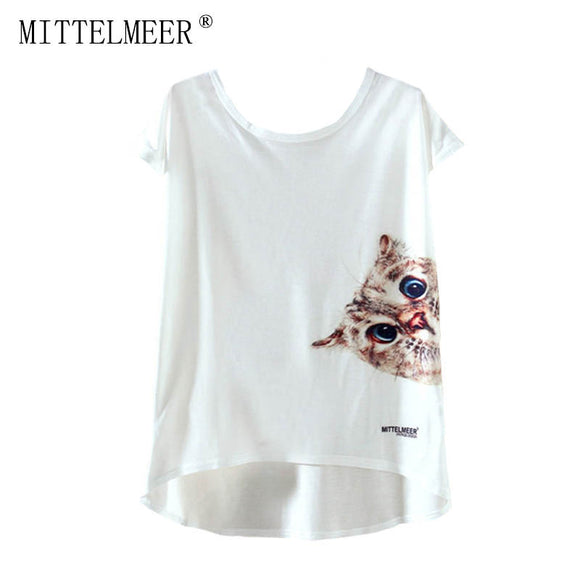 2017 MITTELMEER New kawaii t Shirt Women harajuk Crew Neck Top Short Sleeve Cute cat irregular T-Shirt Summer Tees For Ladies