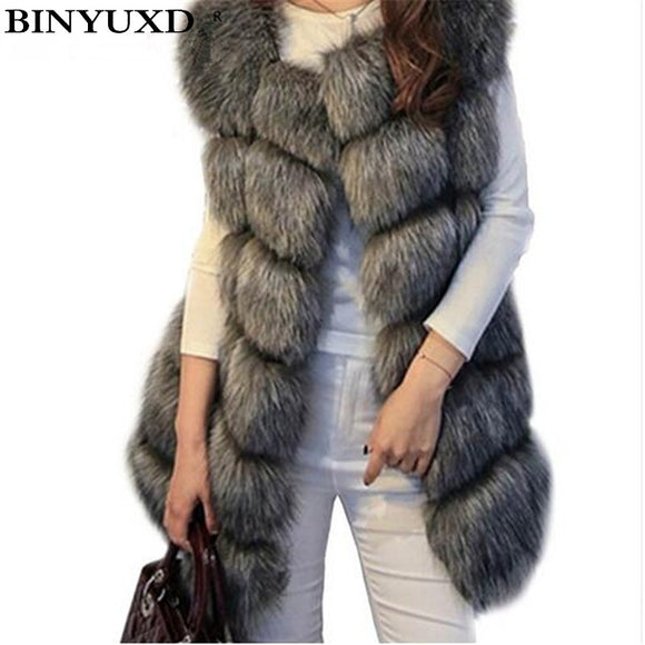 BINYUXD coat Arrival Winter Warm Fashion Women Import Coat Fur Vests High-Grade Faux Fur Coat Fox Fur Long Vest  Women's Jacket